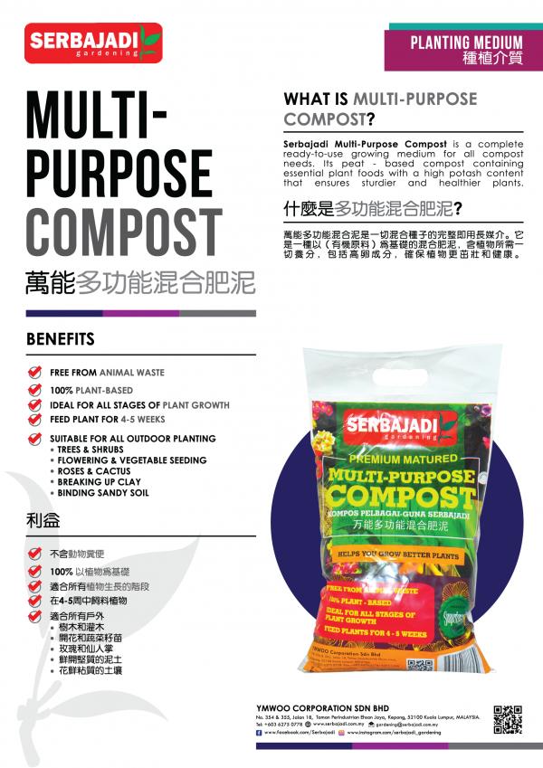 Serbajadi premium matured multi-purpose compost infographic